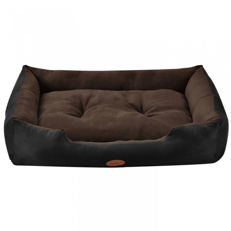 Pelíšek pro psa 90 x 70 x 18 cm černý/hnědý