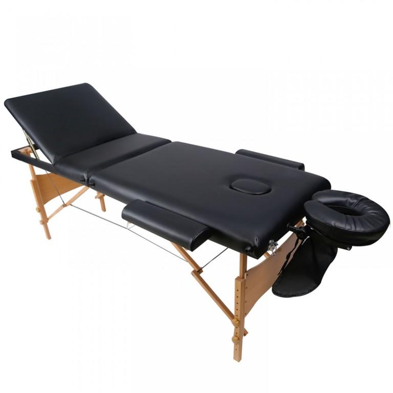 Skládací masážní lehátko dřevěné 180 x 60 cm, černé