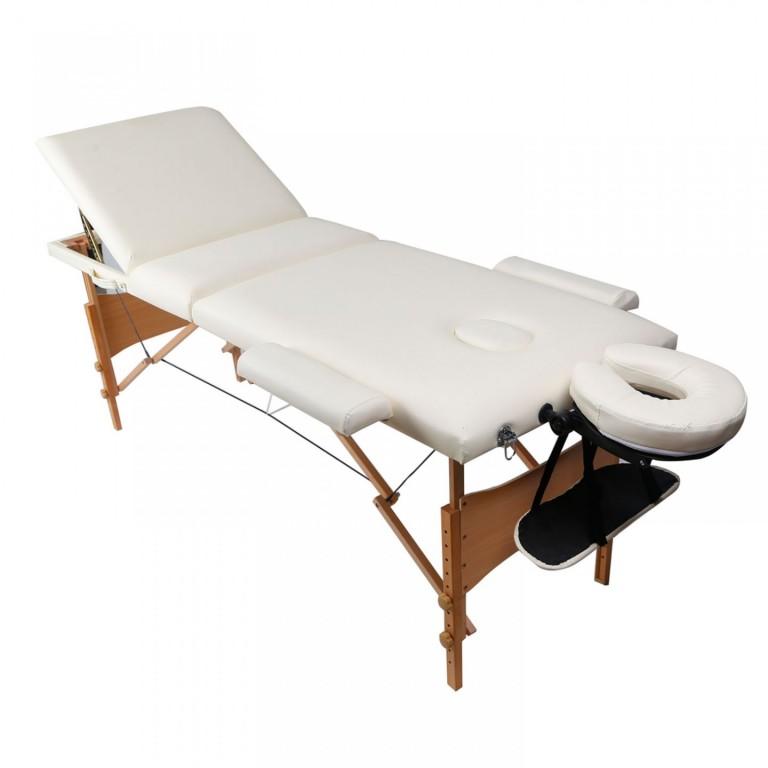 Skládací masážní lehátko dřevěné 180 x 60 cm, krémové