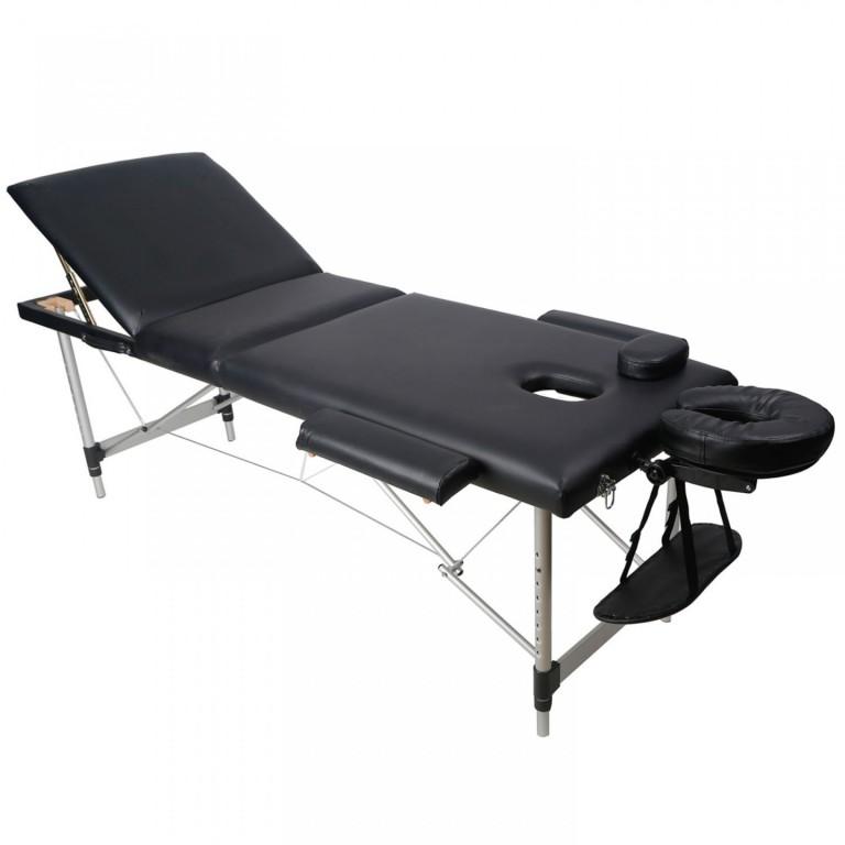 Skládací masážní lehátko hliníkové 180 x 60 cm, černé