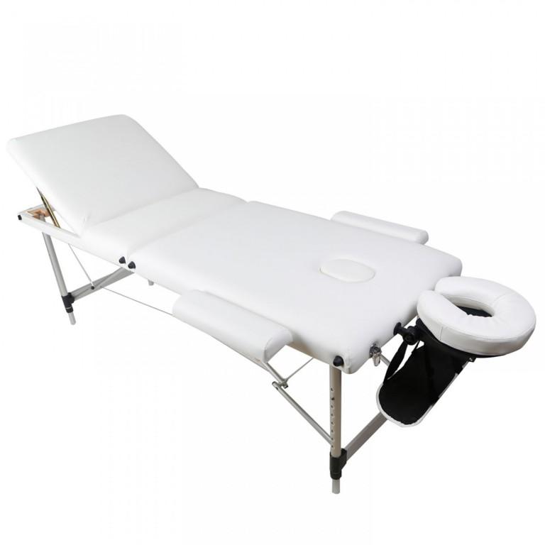 Skládací masážní lehátko hliníkové 180 x 60 cm, bílé