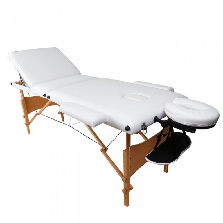 Skládací masážní lehátko dřevěné 180 x 60 cm, bílé