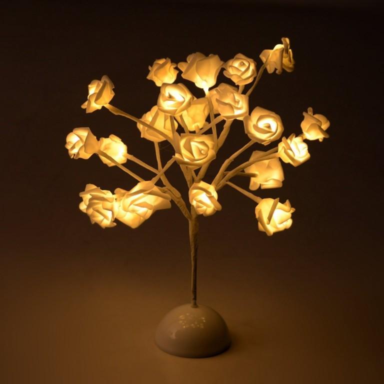 Dekorační svítící LED růže 40 cm, teplá bílá