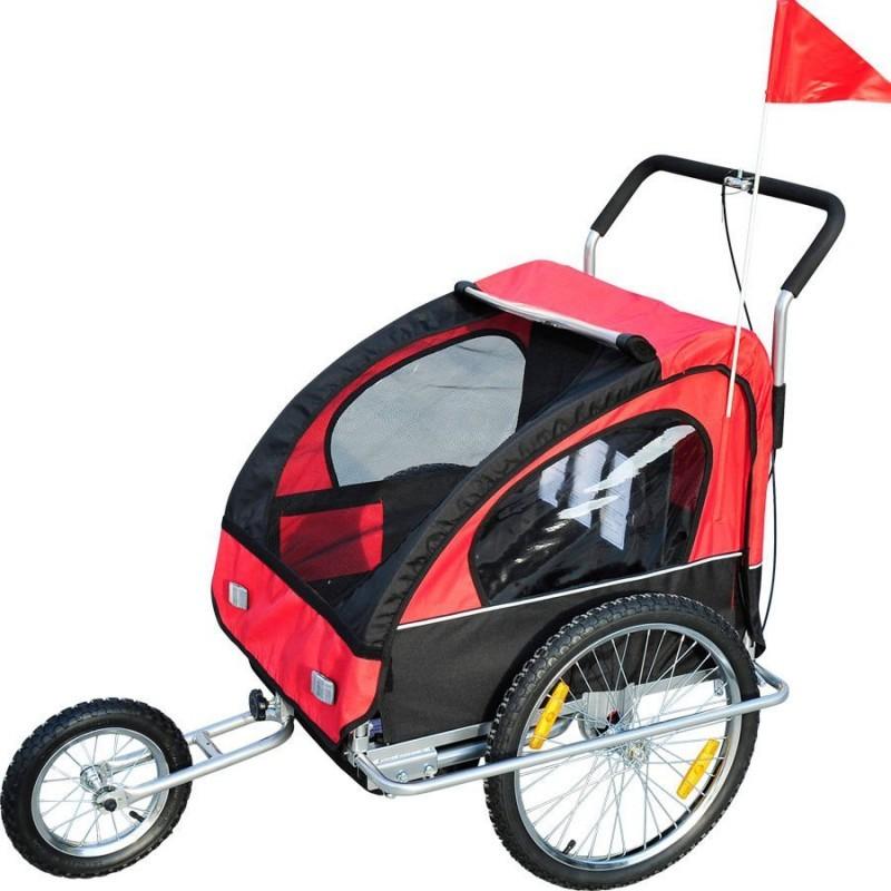 Přívěsný vozík za kolo pro 2 děti JOGGER 2v1 COMFORT 2 červeno-černý