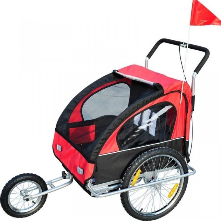 Přívěsný vozík za kolo pro 2 děti jogger 2v1 červeno-černý