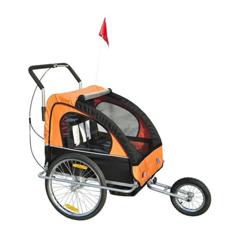 Přívěsný vozík za kolo pro 2 děti JOGGER 2v1 COMFORT 2 oranžovo-černý