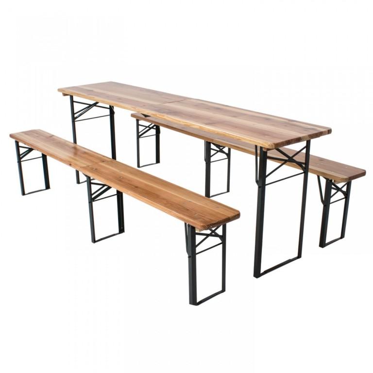 Skládací pivní set 220 x 50 x 25 cm | 3 nohy na lavici