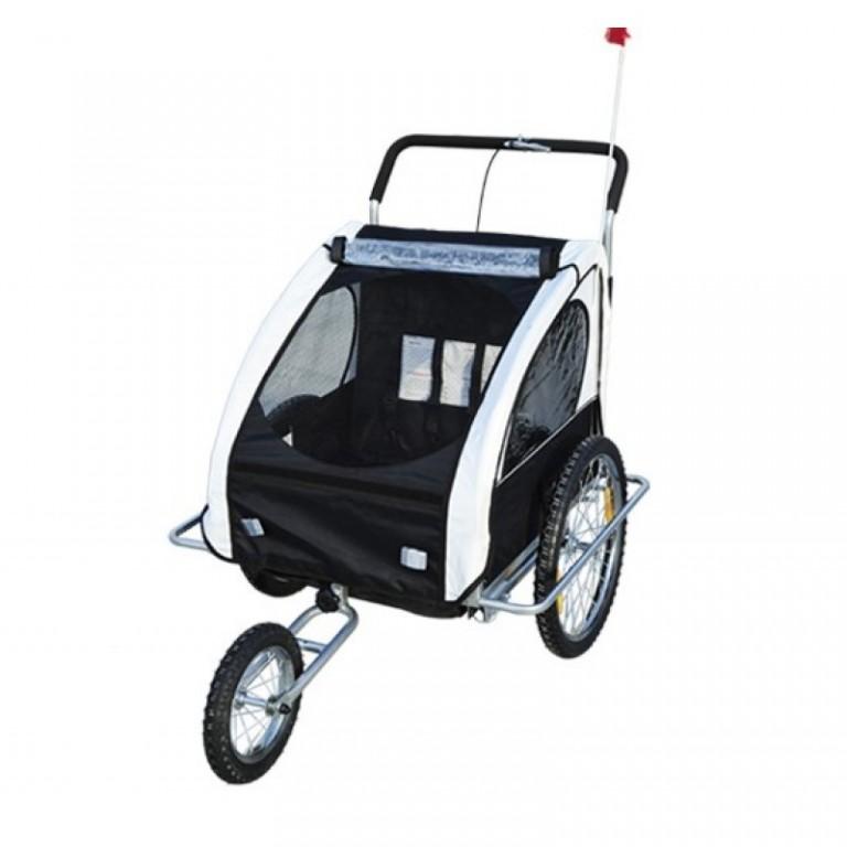 Přívěsný vozík za kolo pro 2 děti jogger 2v1 bílo-černý