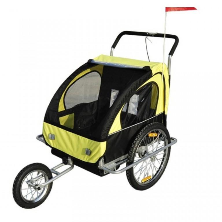 Přívěsný vozík za kolo pro 2 děti jogger 2v1 žluto-černý