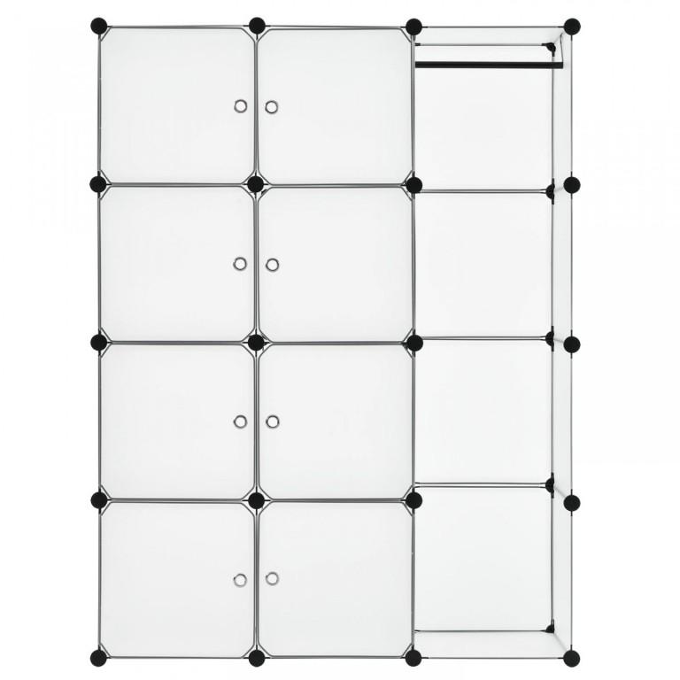 Variabilní regálový systém na boty 105 x 35 x 140 cm | 12 boxů bílý