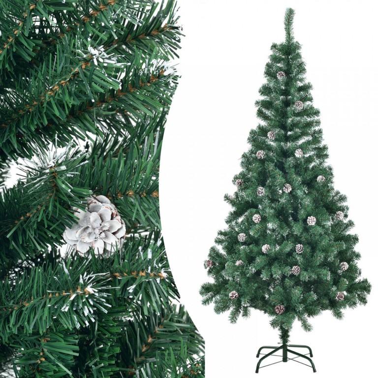 Umělý vánoční stromek 180 cm zasněžený se šiškami