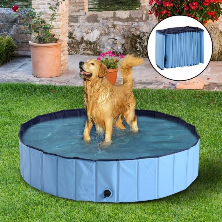Skládací bazén pro psa 140 x 30 cm | modrý
