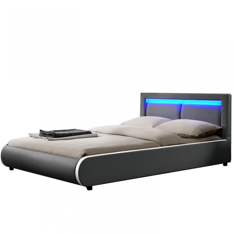 Čalouněná postel Murcia s LED osvětlením 140 x 200 cm | tmavě šedá