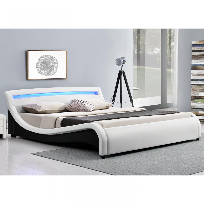 Čalouněná postel Malaga s LED osvětlením 180 x 200 cm - bílá