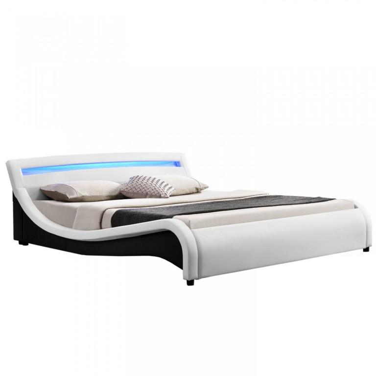 Čalouněná postel Malaga s LED osvětlením 140 x 200 cm | bílá