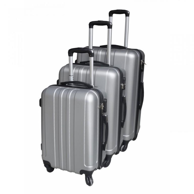 Sada 3 cestovních kufrů | stříbrná