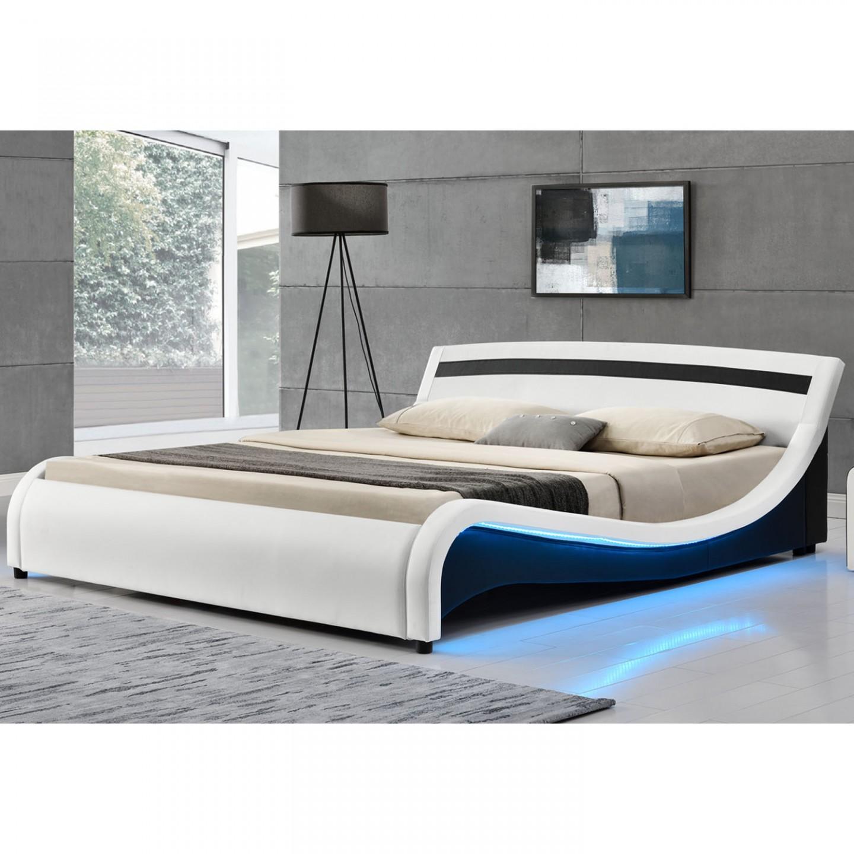Goleto Čalouněná postel Malaga s bočním LED osvětlením 180 x 200 cm bílá