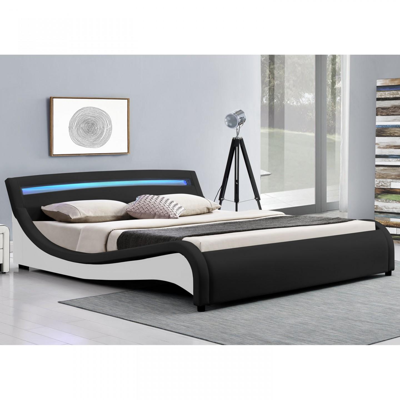 Goleto Čalouněná postel Malaga s LED osvětlením 140 x 200 cm   černá