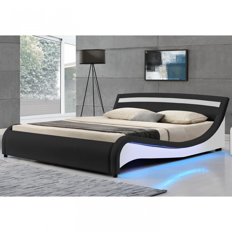 Goleto Čalouněná postel Malaga s bočním LED osvětlením 140 x 200 cm | černá