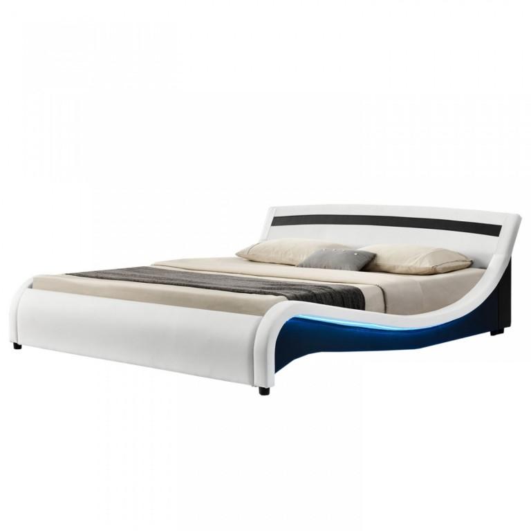 Čalouněná postel Malaga s bočním LED osvětlením 140 x 200 cm | bílá