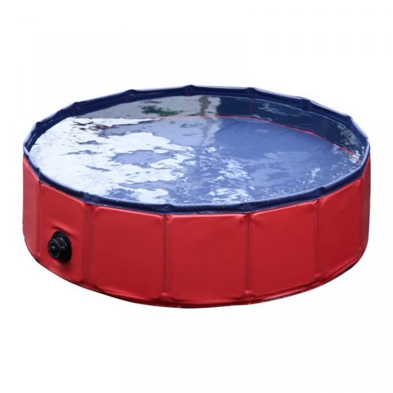 Skládací bazén pro psa 160 x 30 cm | červený