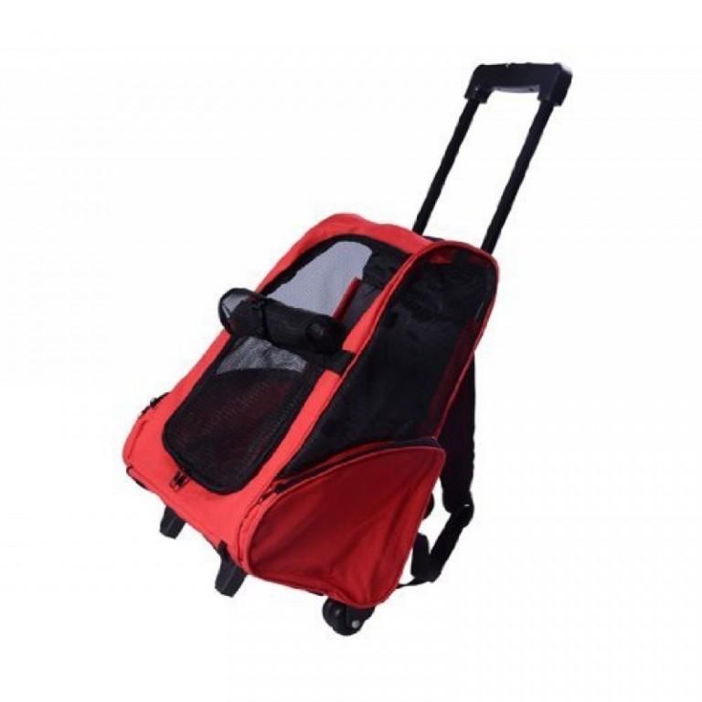Přepravní skládací taška s kolečky pro psa | červená