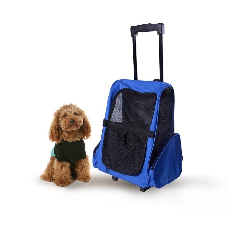 Přepravní skládací taška s kolečky pro psa   modrá