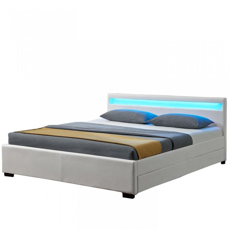 Čalouněná postel Lyon s úložným prostorem a LED osvětlením 140 x 200 cm | bílá