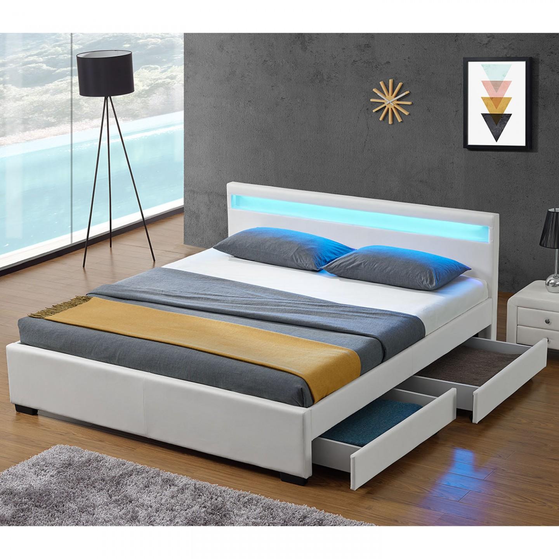 b5c4b2199ac38 Čalouněná postel Lyon s úložným prostorem a LED osvětlením 140 x 200 cm |  bílá č