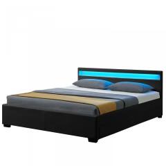 Čalouněná postel Lyon s úložným prostorem a LED osvětlením 180 x 200 cm | černá č.1