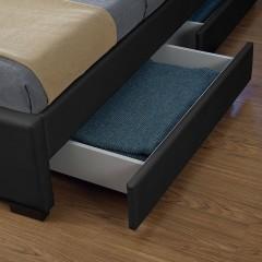 Čalouněná postel Lyon s úložným prostorem a LED osvětlením 180 x 200 cm | černá č.2