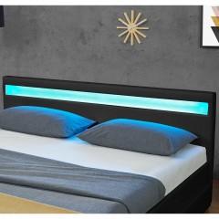 Čalouněná postel Lyon s úložným prostorem a LED osvětlením 180 x 200 cm | černá č.3