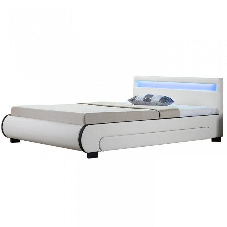 Čalouněná postel Bilbao s úložným prostorem a LED osvětlením 140 x 200 cm | bílá