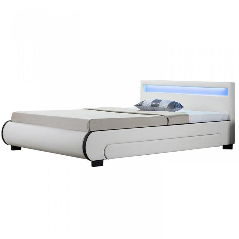 Čalouněná postel Bilbao s úložným prostorem a LED osvětlením 180 x 200 cm | bílá