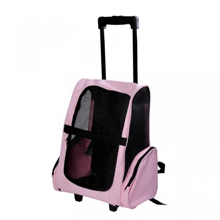 Přepravní skládací taška s kolečky pro psa   růžová