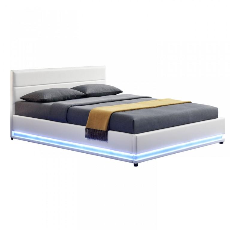 Čalouněná postel Toulouse s úložným prostorem a LED osvětlením 140 x 200 cm | bílá