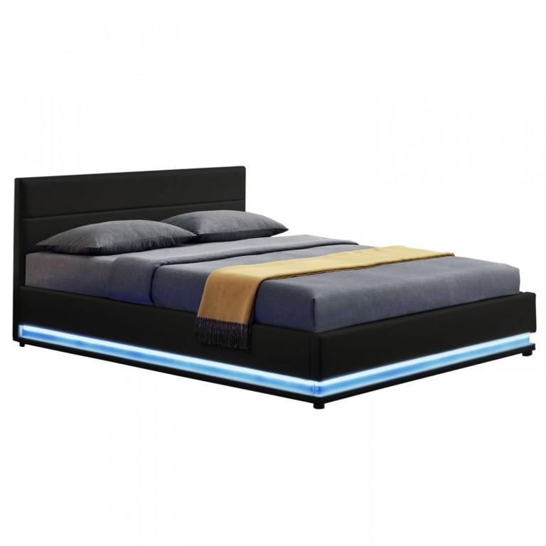 Čalouněná postel Toulouse s úložným prostorem a LED osvětlením 140 x 200 cm | černá