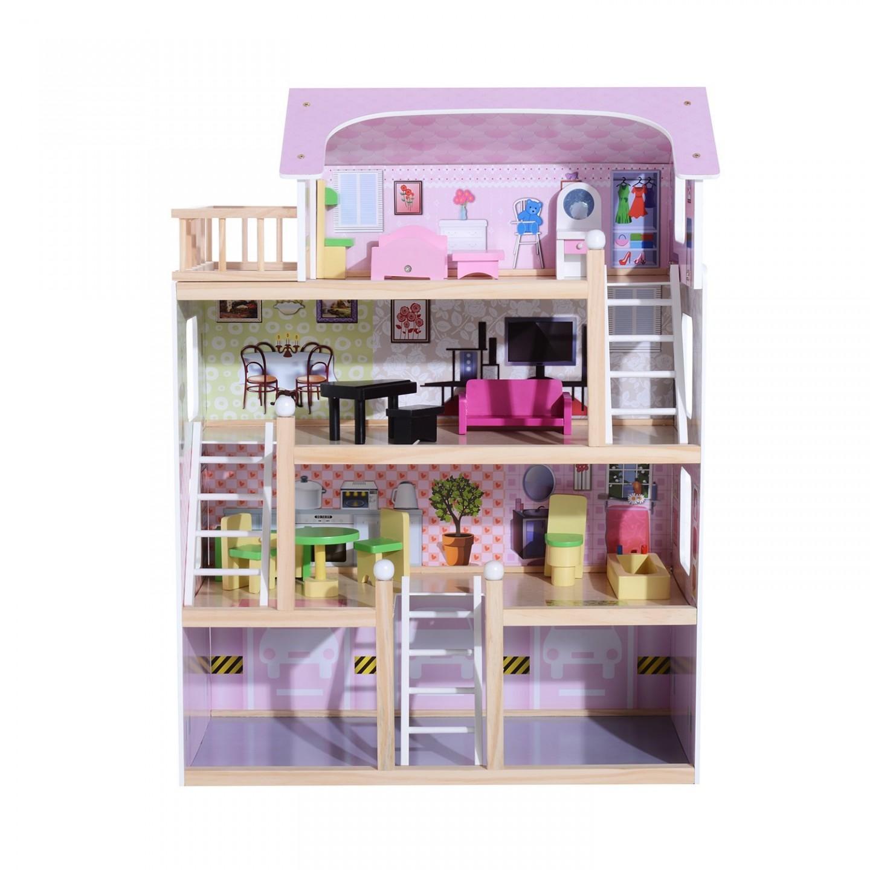 Goleto Dřevěný 4 patrový domeček pro panenky s nábytkem